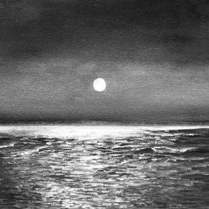 full moon seascape black white