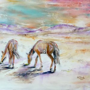 horses horizon desert colour