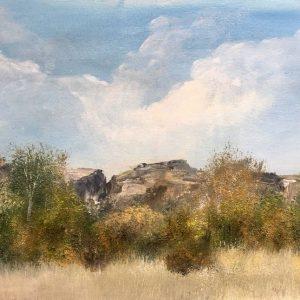 landscape boulder rocks clouds