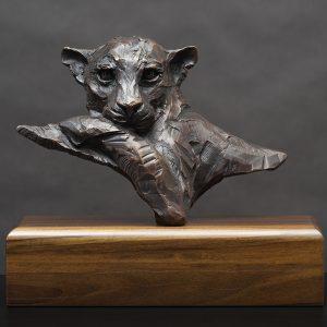 leopard wildlife bronze sculpture