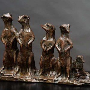 meerkat family bronze sculpture