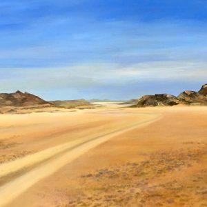 road barren namib desert landscape
