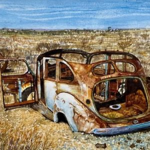 solitaire car wreck abandoned watercolour
