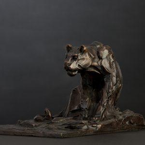 stalking lioness wildlife bronze sculpture